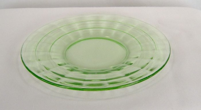Hocking Green Block Optic Sherbet Plate