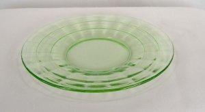 Hocking Green Block Optic Sherbet Plate