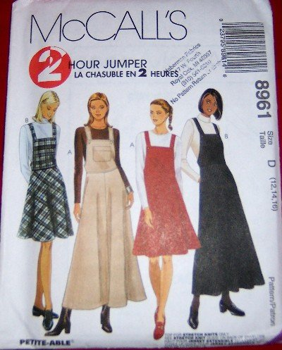 McCall's 8961 Jumper Dress Sewing Pattern Size Medium Large