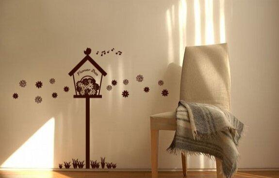 Bird House Flower Box Wall Sticker