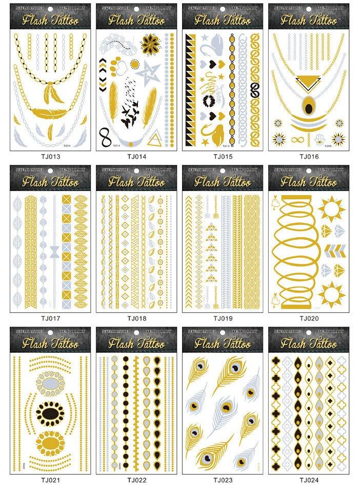 Whole sale Metallic gold foil tattoo 100sheets