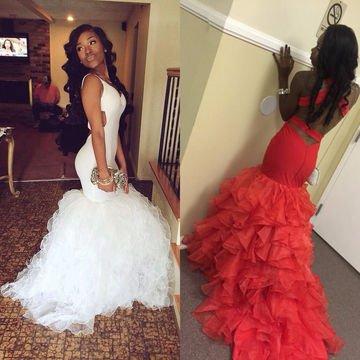 White Puff Prom Dress White/Red