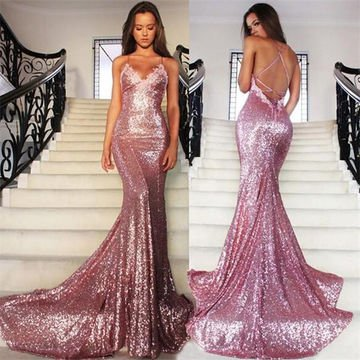Lovely Shimmering Pink Prom Dress