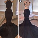 Black Beading Mermaid Satin Prom Dress With Spegetti Straps