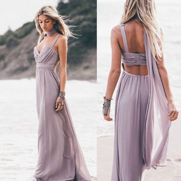 Elegant Sleeveless Zipper Chiffon Prom Dress