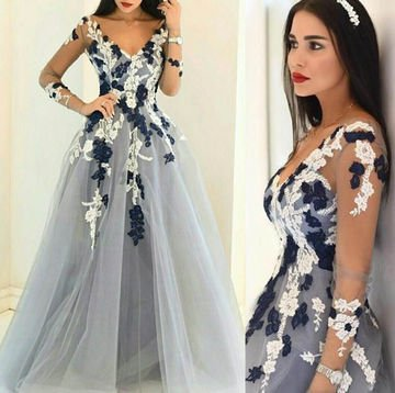 Blue Sheer Sleeves Appliques A-Line Tulue Prom Dress