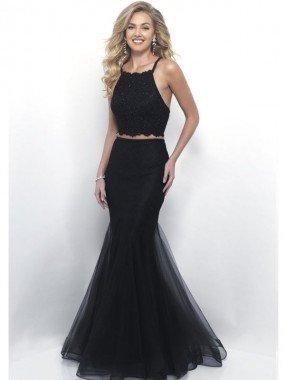 Trumpet/Mermaid Halter SleevelessFloor-Length Lace Dress