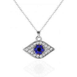 Rhinestone Eye Shaped Pendant Necklace