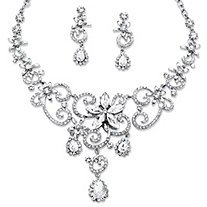 Swirl and Flower Aurora Boreal Crystal Necklace and Earring Set in Platinum-Plated