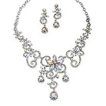 Swirl and Flower Crystal. E place and Earring Set