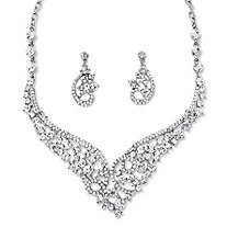 Round Crystal Tiara-insoired Scroll Necklace  and Earring Set in Rhodium Played Finush