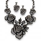 2Piece Grey Crystal Rise Necklace and Earring Set in Rhodium Plated