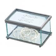 Elegant Glass Jewlery Box with Braided Border