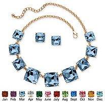 Princes Cut Birthstone 2- Piece Necklace Stud Earrings