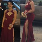 Burgandy Sleeveless Prom Dressthis