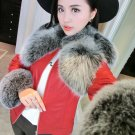Red and Black Faux Fur Coat