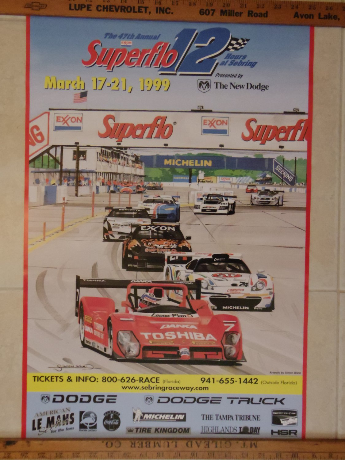 1999 superflow 12 hours of sebring poster. Black Bedroom Furniture Sets. Home Design Ideas