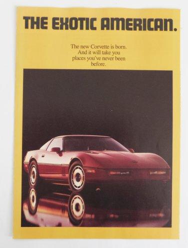 1984 Chevrolet Corvette The Exotic American Sales Brochure