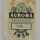 Vintage 1956 Aurora Ill. Vehicle Tax Windshield Decal