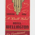 Hotel Wellington New York City Matchbook Cover