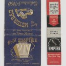 Hotel Empire and Motor Bar New York City Vintage Matchbook Covers