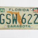 Florida State Map Sarasota County License Plate GSW622