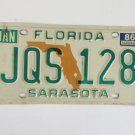 Florida State Map Sarasota County License Plate JQS128