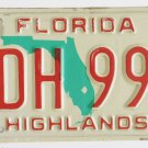 87 Florida License Plate Red Over Green