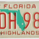 88 Florida License Plate Red Over Green