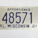 Wisconsin Apportioned Truck Trailer License Plate Tag