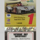 2010 American Le Mans 12 Hours of Sebring Super Ticket Audi R15 IMSA