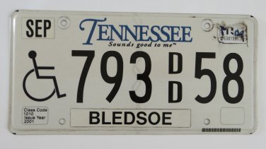 Tennessee Handicap License Plate Tag