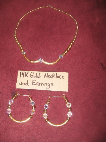 14k gold filled necklace and earrings