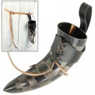 Medieval Norwegian itched Viking drinking horn with leather frog for beer wine mead pagan Larp