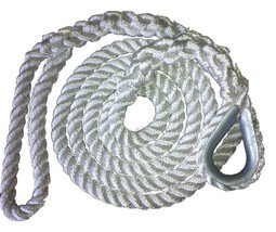 3/4 X 10 Ft 3 Strand Mooring Pendant Nylon Rope  with Thimble