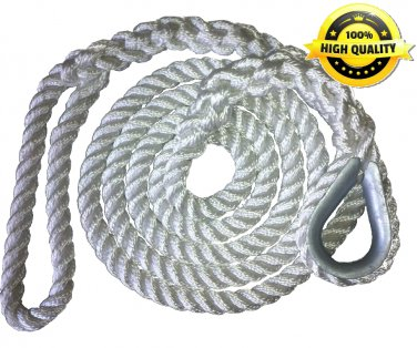 5/8 X 15 Ft 3 Strand Mooring Pendant Nylon Rope with Thimble