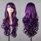 "32"" 80cm Long Hair Heat Resistant Spiral Curly Cosplay Wig with Free Wig Cap (80cm:dark Purple)"