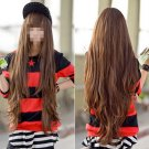 Women's Brown Cosplay Long Style Wavy Curly Synthetic Full With Fringe Wig Hair