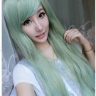 Fashion Women Lolita Wig Long Light Green Straight Hair Full Wigs Cosplay