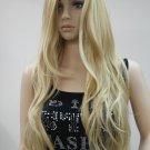 beautiful no bangs blonde mix long wavy synthetic full wig