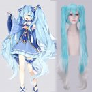 Vocaloid snow Hatsune Miku Cosplay Bunches 120cm Pigtails white blue Synthetic Full Wig