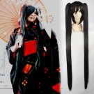 Vocaloid Hatsune Miku Cosplay Bunches Women's 120cm Long Pigtails black Synthetic Full Wig