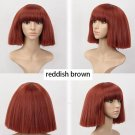 Women's Short Bob Fluffy Hair Full Wigs with Bangs Kinky Straight Custom Party  Wig (reddish brown)