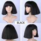 Women's Short Bob Fluffy Hair Full Wigs with Bangs Kinky Straight Custom Party  Wig (black)