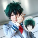 My Hero Academia Izuku Midoriya 緑谷 出久 cosplay dark green color mixture anime wigs