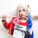 DC Harley Quinn cosplay wigs make two braids by yourself for Halloween Party Costume (Pink&Blue)