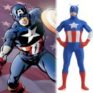 Marve's Captain America Steven Cosplay blue zentai Hallowmas party Fancy dress paty Costume