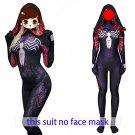 Women's Venom spider-man cosplay purple black sexy hoodie zentai Bodysuit Hallowmas party