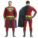 personalized DC's superman red cosplay zentai bodysuit Halloween Party Costume with a cape