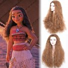 Moana cosplay brown wigs black women's  long corn perm curly hair  Halloween Party wig